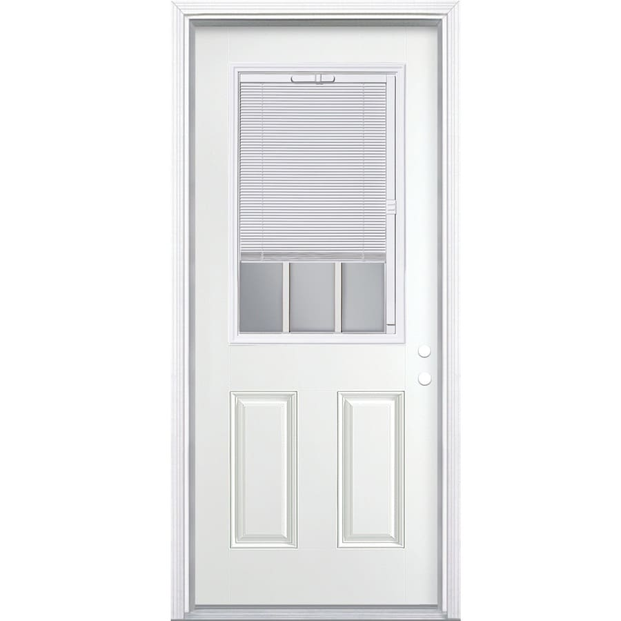 Masonite 2-panel Insulating Core Blinds And Grilles Between The Glass Half Lite Left-Hand Inswing Steel Primed Prehung Entry Door (Common: 36-in x 80-in; Actual: 37.5000-in x 81.5000-in)
