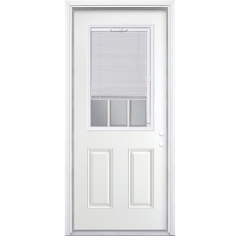 Masonite 2-Panel Insulating Core Blinds and Grilles Between The Glass Half Lite Left-Hand Inswing Steel Primed Prehung Entry Door (Common: 36-in x 80-in; Actual: 37.5-in x 81.5-in)