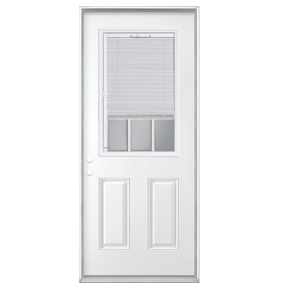 Masonite Half Lite Blinds and Grilles Between the Glass Left-Hand Inswing Primed Steel Prehung Entry Door with Insulating Core (Common: 32-in X 80-in; Actual: 33.5-in x 81.625-in)