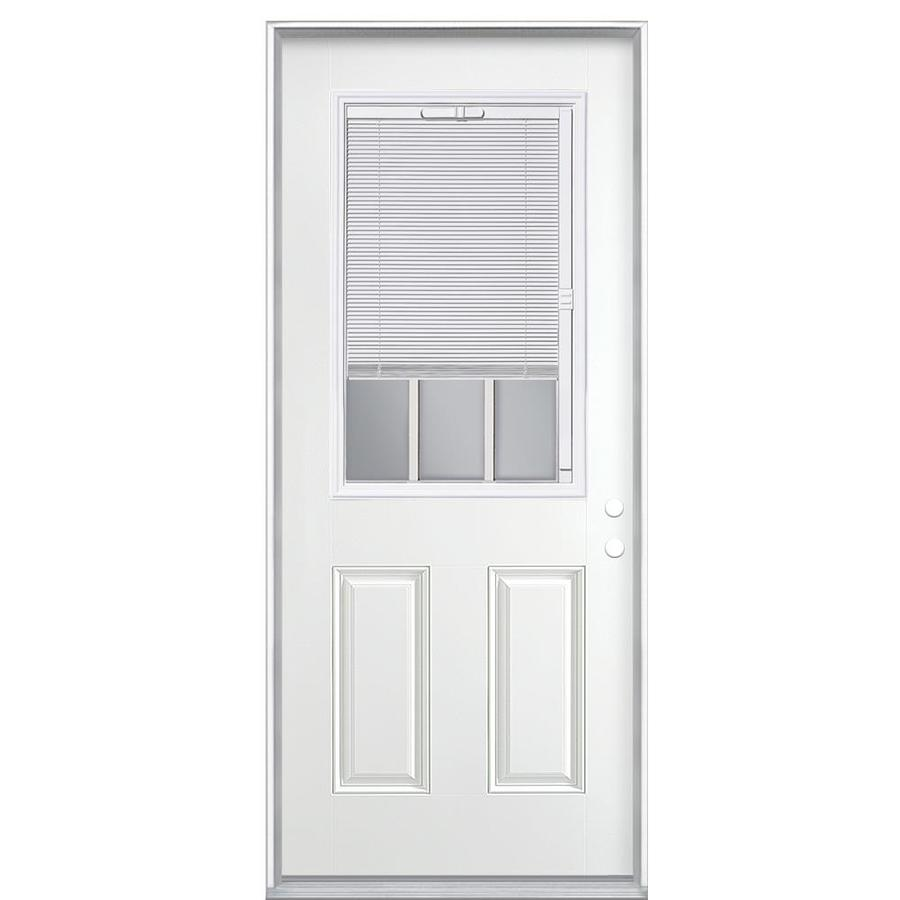 Masonite 2-panel Insulating Core Blinds And Grilles Between The Glass Half Lite Right-Hand Inswing Steel Primed Prehung Entry Door (Common: 36-in x 80-in; Actual: 37.5000-in x 81.5000-in)