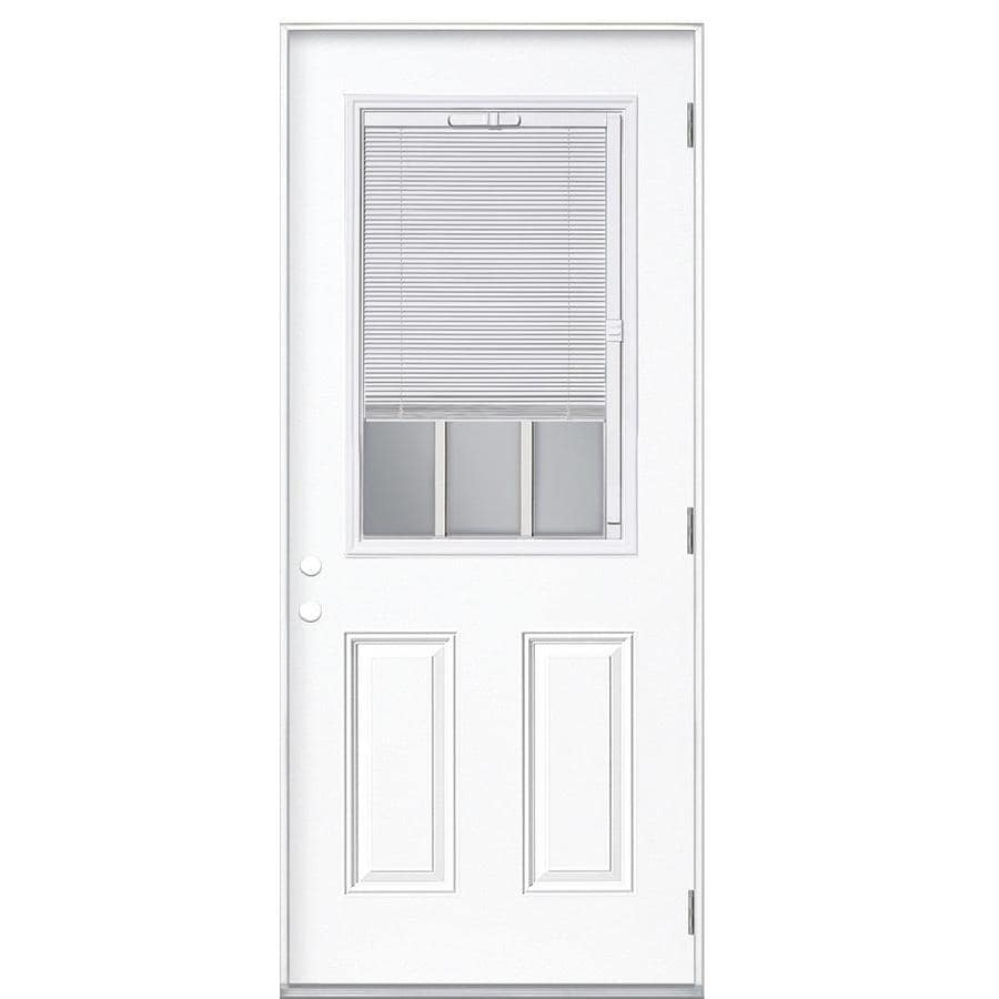 Masonite Blinds and Grilles Between the Glass Left-Hand Outswing Primed Steel Prehung Entry Door with Insulating Core (Common: 32-in x 80-in; Actual: 33.5-in x 80.375-in)