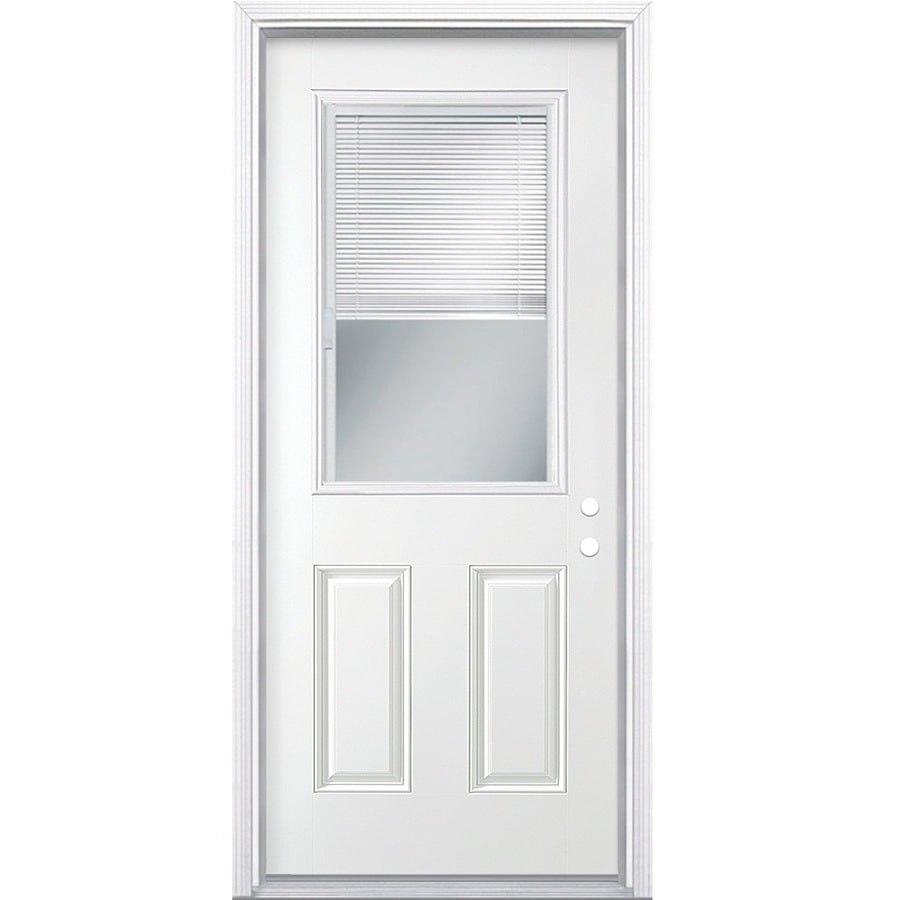 Masonite Decorative Glass Left-Hand Inswing Primed Steel Prehung Double Entry Door with Insulating Core (Common: 30-in x 80-in; Actual: 31.5-in x 81.625-in)