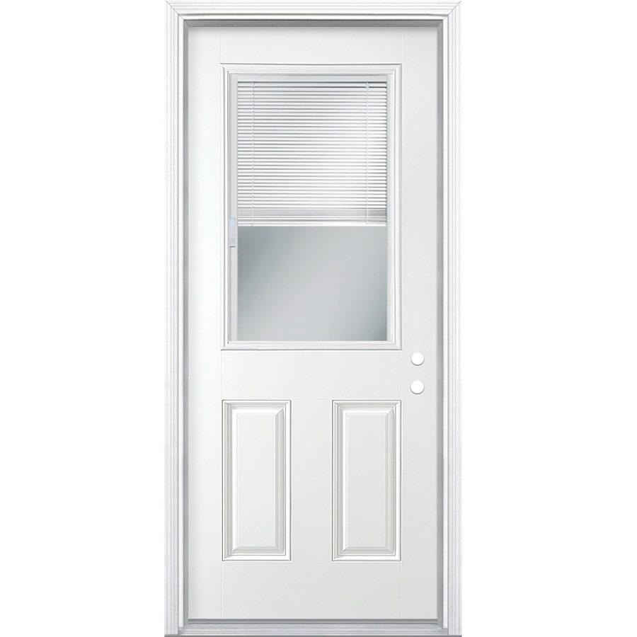 Masonite 2-Panel Insulating Core Blinds Between The Glass Half Lite Left-Hand Inswing Steel Primed Prehung Entry Door (Common: 30-in x 80-in; Actual: 31.5-in x 81.5-in)