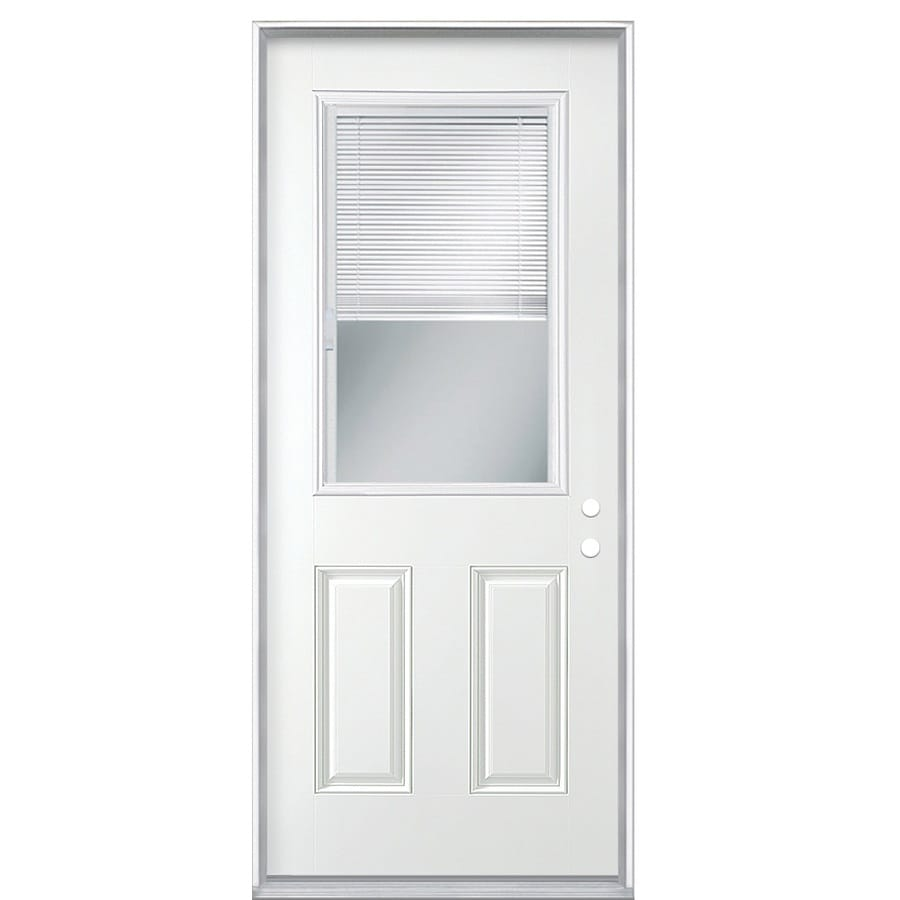 Masonite Decorative Glass Left-Hand Inswing Primed Steel Prehung Double Entry Door with Insulating Core (Common: 36-in x 80-in; Actual: 37.5-in x 81.625-in)