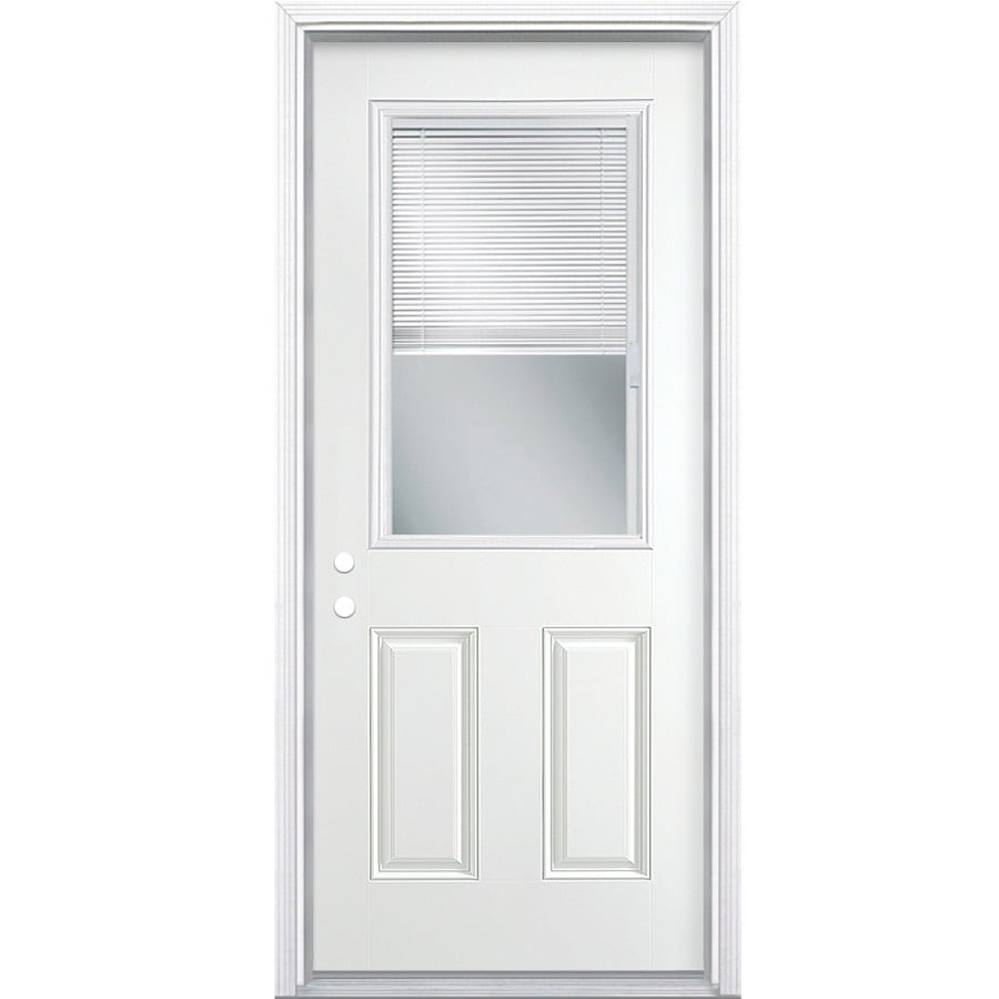 Shop Masonite Half Lite Blinds Between The Glass Right Hand Inswing Primed Steel Prehung Double
