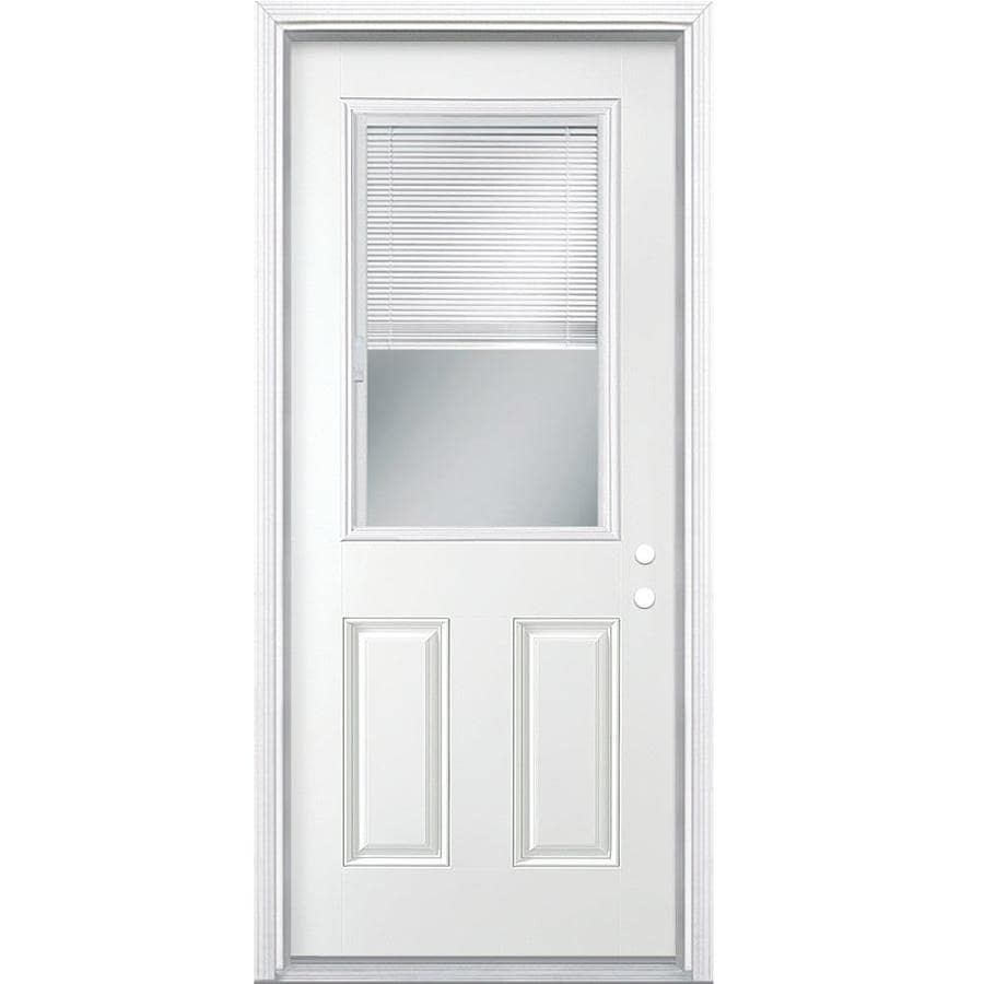 Shop Masonite Half Lite Blinds Between The Glass Left Hand Inswing Primed Steel Prehung Double