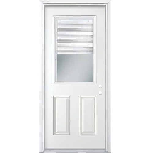 Masonite 36 In X 80 In Steel Half Lite Left Hand Inswing Primed Prehung Single Front Door With Brickmould And Blinds In The Front Doors Department At Lowes Com