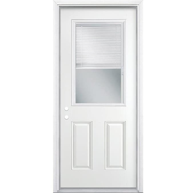 Masonite 36 In X 80 In Steel Half Lite Right Hand Inswing Primed Prehung Single Front Door Brickmould Included With Blinds In The Front Doors Department At Lowes Com The right exterior door can improve the look of your property while at screwfix we have a vast range of exterior doors available in a variety of finishes and opening styles. masonite 36 in x 80 in steel half lite right hand inswing primed prehung single front door brickmould included with blinds