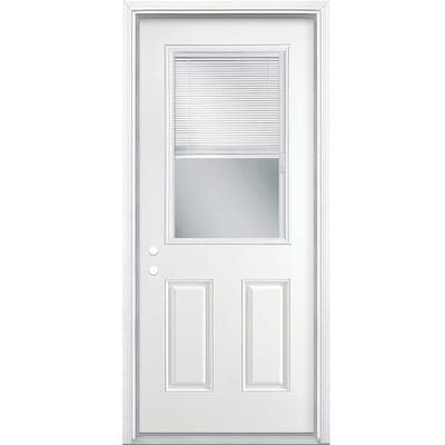 Half Lite Blinds Between The Gl Right Hand Inswing Primed Steel Prehung Entry Door With Insulating Core Common 36 In X 80 Actual 37 5