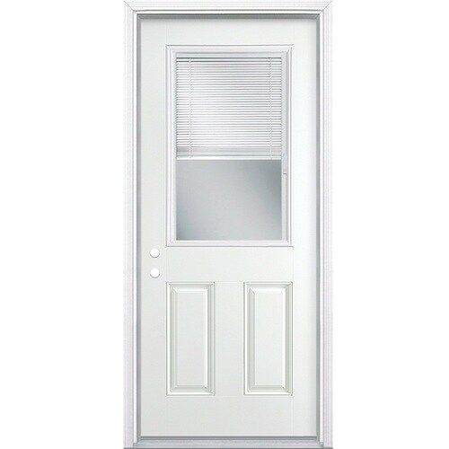 Masonite 36 In X 80 In Steel Half Lite Right Hand Inswing Primed Prehung Single Front Door Brickmould Included With Blinds In The Front Doors Department At Lowes Com Dog doors at lowes | petsafe aluminum x masonite 36 in x 80 in steel half lite right hand inswing primed prehung single front door brickmould included with blinds lowes com