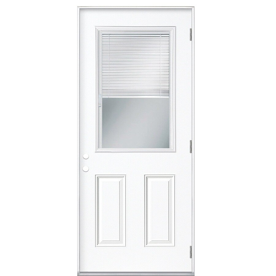 Masonite 2-Panel Insulating Core Blinds Between The Glass Half Lite Left-Hand Outswing Steel Primed Prehung Entry Door (Common: 32-in x 80-in; Actual: 33.5-in x 80.375-in)
