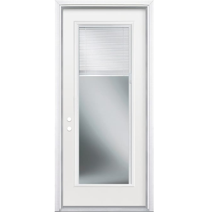Masonite 32 In X 80 In Steel Full Lite Right Hand Inswing Primed Prehung Single Front Door Brickmould Included With Blinds In The Front Doors Department At Lowes Com In stock at store today. masonite 32 in x 80 in steel full lite right hand inswing primed prehung single front door brickmould included with blinds