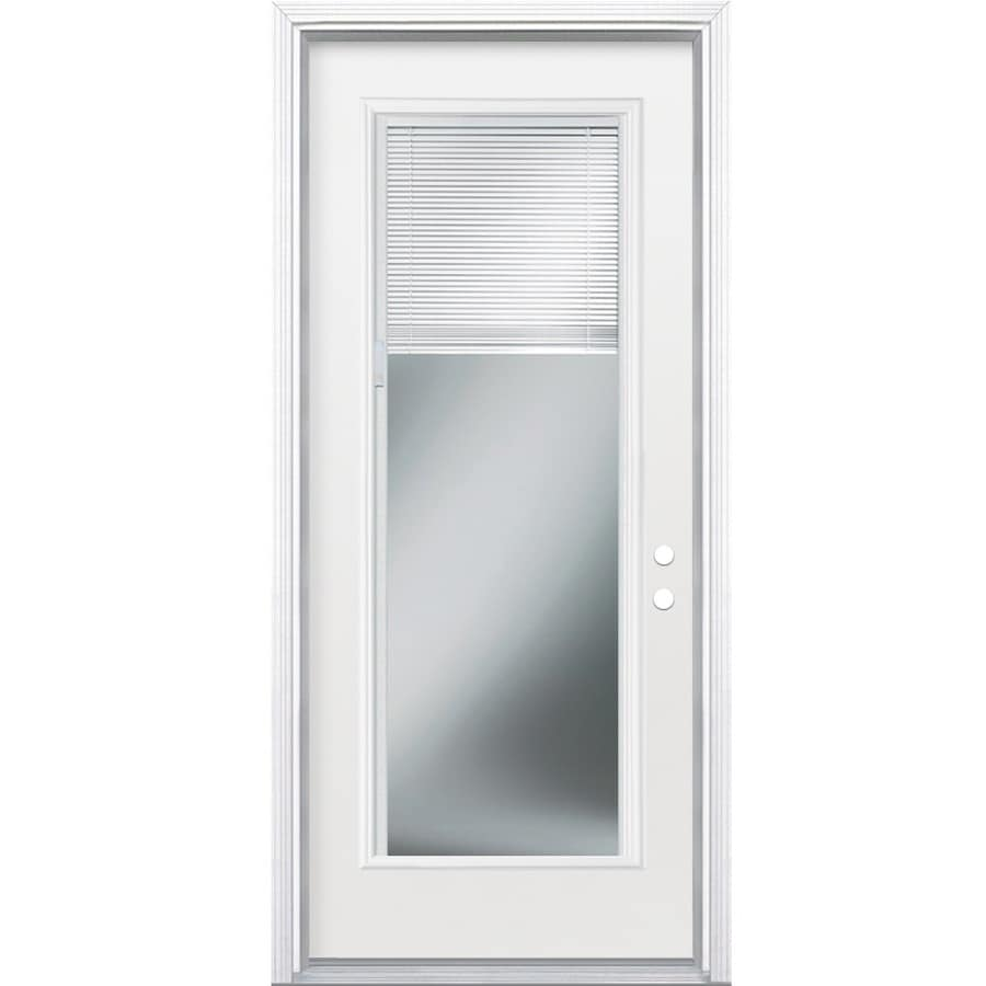 Masonite 2-Panel Insulating Core Blinds Between The Glass Full Lite Left-Hand Inswing Steel Primed Prehung Entry Door (Common: 32-in x 80-in; Actual: 33.5-in x 81.5-in)