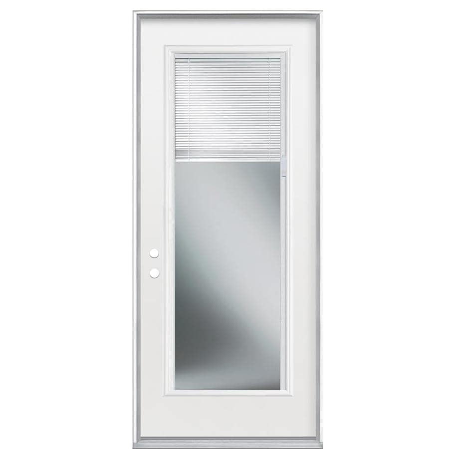 Masonite 2-Panel Insulating Core Blinds Between The Glass Full Lite Right-Hand Inswing Steel Primed Prehung Entry Door (Common: 32-in x 80-in; Actual: 33.5-in x 81.5-in)