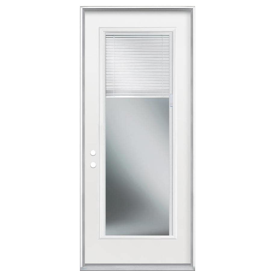 Masonite Decorative Glass Right-Hand Inswing Primed Steel Prehung Double Entry Door with Insulating Core (Common: 36-in x 80-in; Actual: 37.5-in x 81.625-in)