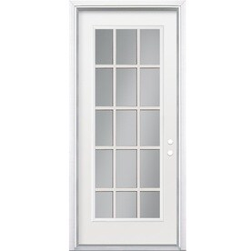 Masonite Full Lite Clear Glass Left Hand Inswing Primed Steel Prehung Entry  Door With Insulating