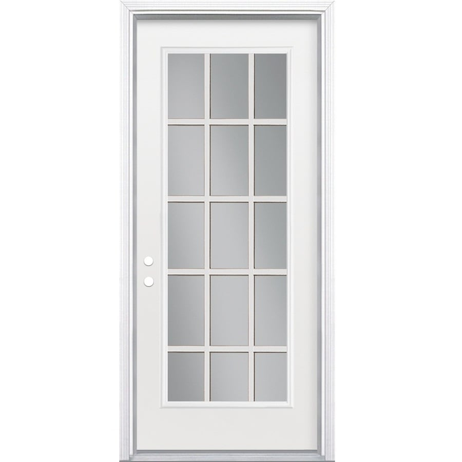 Shop masonite clear glass right hand inswing primed steel for Outside doors with glass