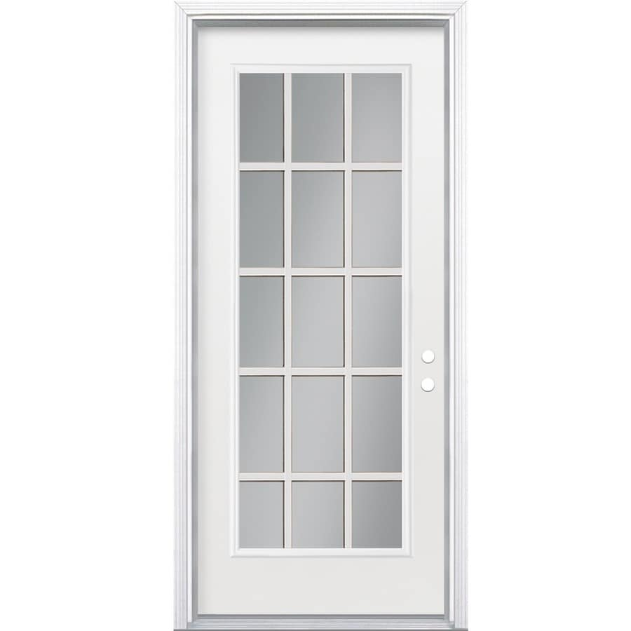 Shop masonite full lite clear glass left hand inswing for Exterior back doors with glass