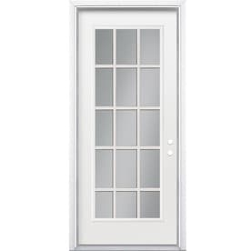 masonite flush insulating core 15 lite steel primed prehung entry door