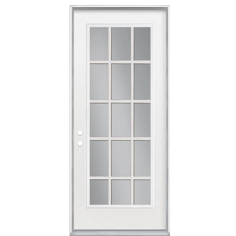 Masonite Clear Glass Right-Hand Inswing Primed Steel Prehung Entry Door with Insulating Core (Common: 32-in x 80-in; Actual: 33.5-in x 81.625-in)
