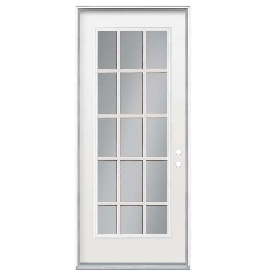 Shop masonite clear glass left hand inswing primed steel for Exterior door insulation