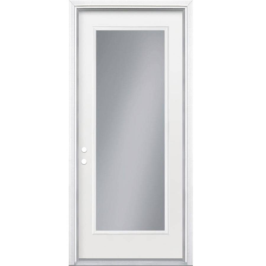 Shop masonite full lite clear glass right hand inswing for Double doors with glass