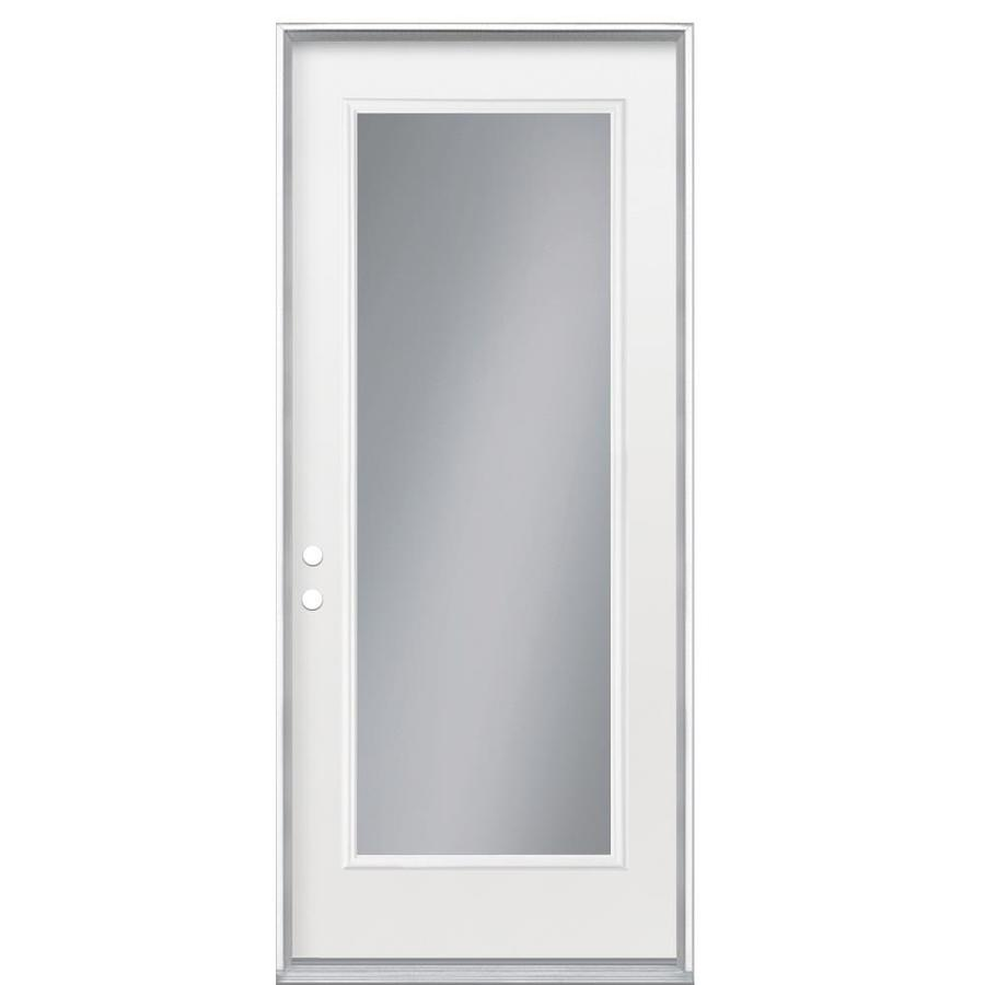 Masonite Flush Insulating Core Full Lite Right-Hand Inswing Steel Primed Prehung Entry Door (Common: 36-in x 80-in; Actual: 37.5-in x 81.5-in)
