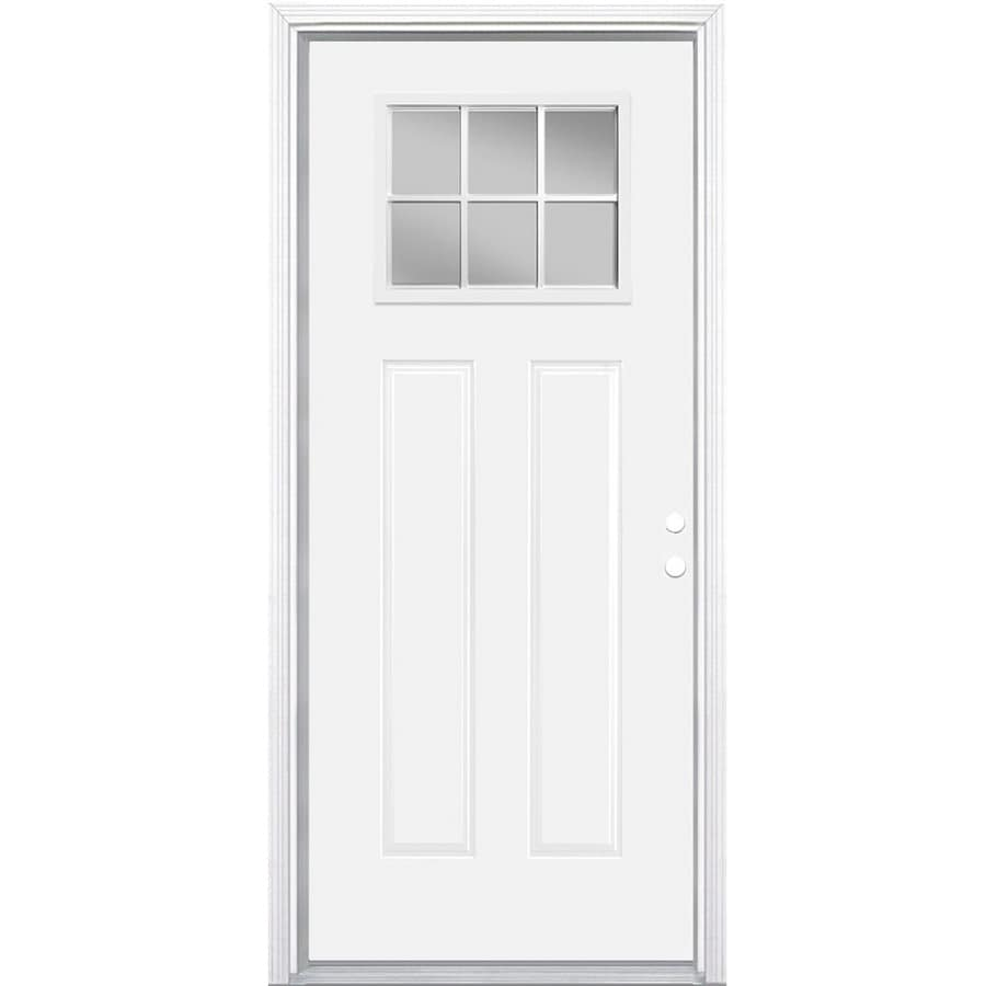 Masonite Craftsman Clear Glass Left Hand Inswing Primed Steel Prehung  Double Entry Door With Insulating
