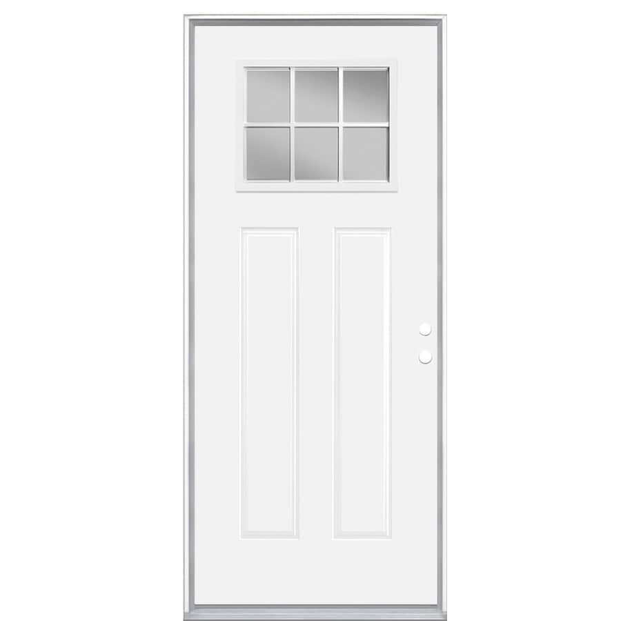 Masonite Decorative Glass Left-Hand Inswing Steel Primed Entry Door (Common: 36-in x 80-in; Actual: 37.5-in x 81.5-in)