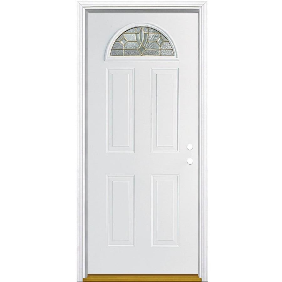Masonite Laurel Decorative Glass Left-Hand Inswing Steel Primed Entry Door (Common: 36-in x 80-in; Actual: 37.5-in x 81.5-in)