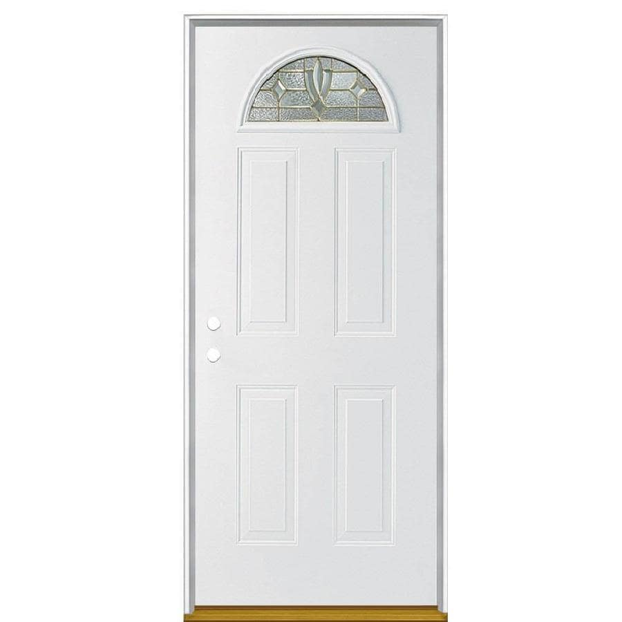 Masonite Laurel Decorative Glass Right-Hand Inswing Steel Primed Entry Door (Common: 36-in x 80-in; Actual: 37.5-in x 81.5-in)