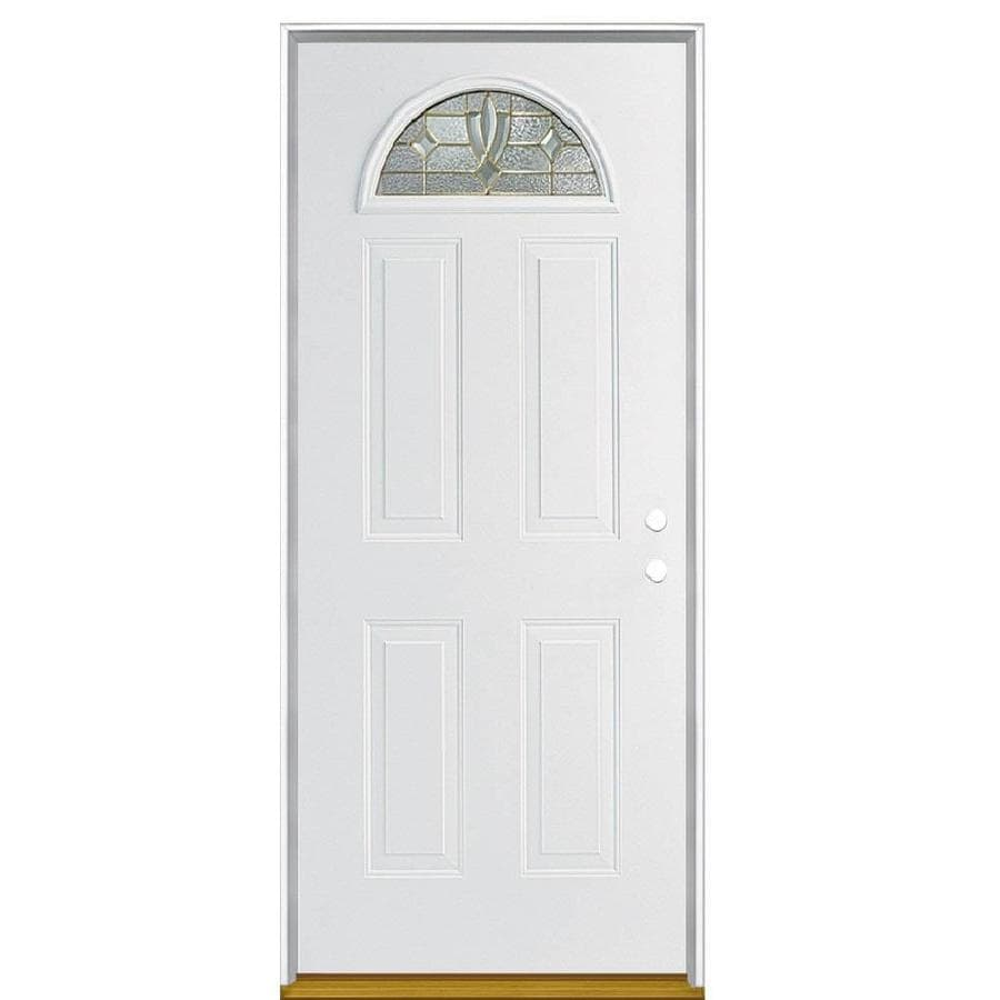 Masonite Laurel 4-Panel Insulating Core Fan Lite Left-Hand Inswing Steel Primed Prehung Entry Door (Common: 36-in x 80-in; Actual: 37.5-in x 81.5-in)