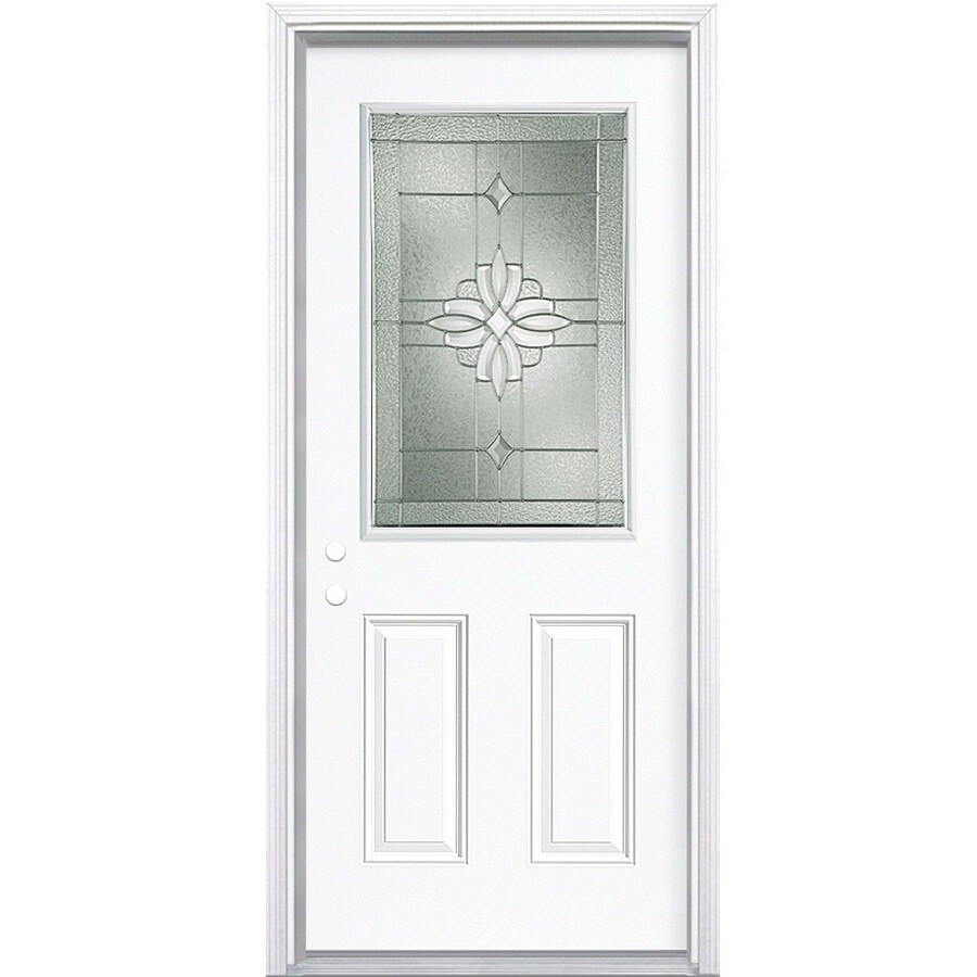 Masonite Laurel 2-Panel Insulating Core Half Lite Right-Hand Inswing Steel Primed Prehung Entry Door (Common: 36-in x 80-in; Actual: 37.5-in x 81.5-in)