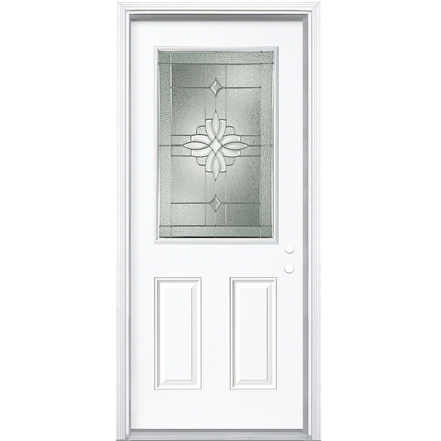 Masonite Laurel Half Lite Decorative Glass Left-Hand Inswing Primed Steel Prehung Entry Door with Insulating Core (Common: 36-in X 80-in; Actual: 37.5-in x 81.625-in)