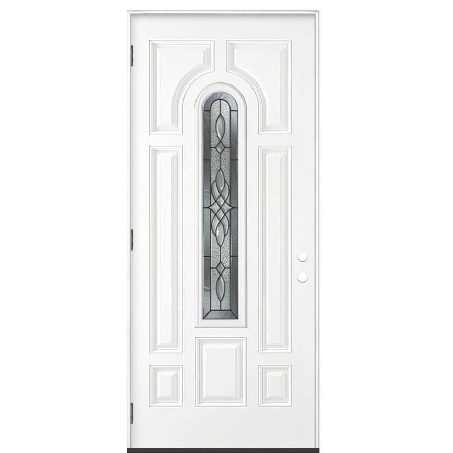 Masonite Hampton Decorative Glass Right-Hand Outswing Primed Steel Prehung Double Entry Door with Insulating Core (Common: 36-in x 80-in; Actual: 37.5-in x 80.375-in)