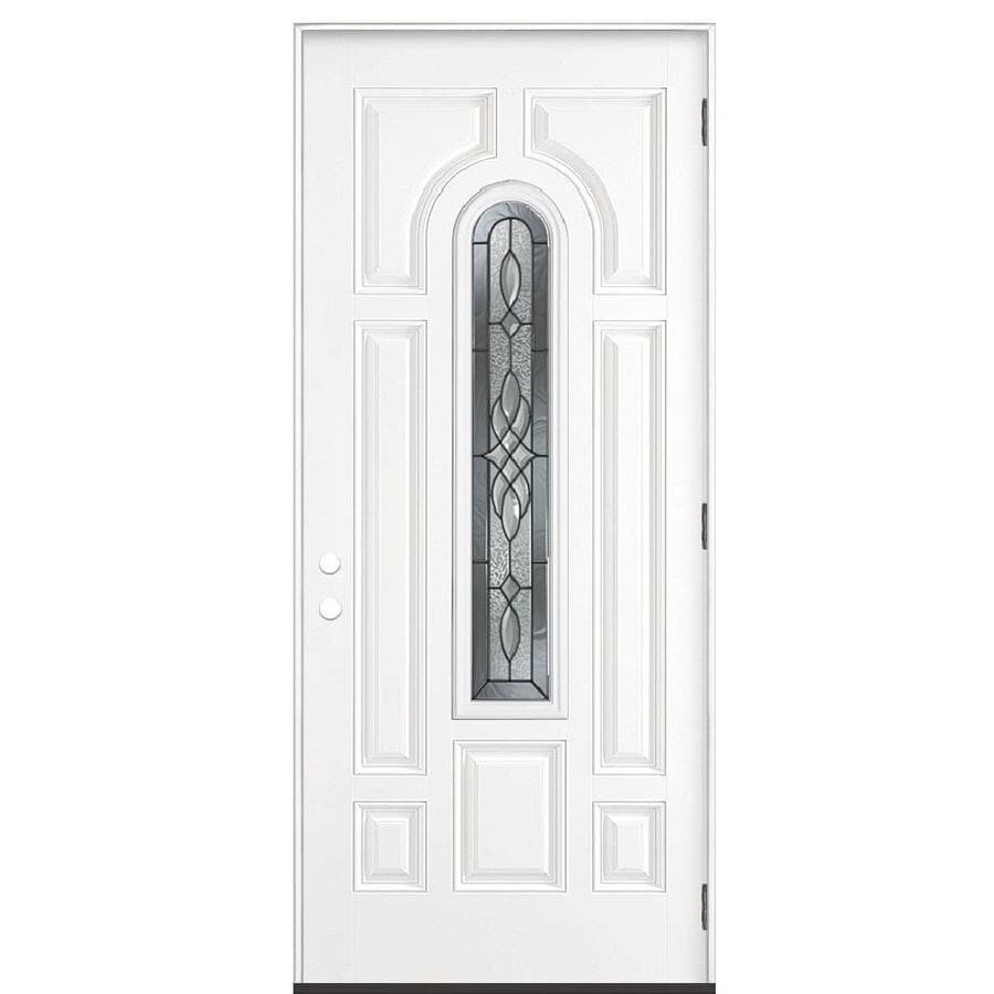 Masonite Hampton 8-Panel Insulating Core Center Arch Lite Left-Hand Outswing Steel Primed Prehung Entry Door (Common: 36-in x 80-in; Actual: 37.5-in x 80.375-in)