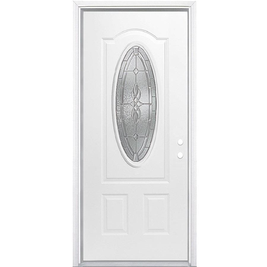 Masonite Hampton Decorative Glass Left-Hand Inswing Primed Steel Prehung Double Entry Door with Insulating Core (Common: 32-in x 80-in; Actual: 33.5-in x 81.625-in)