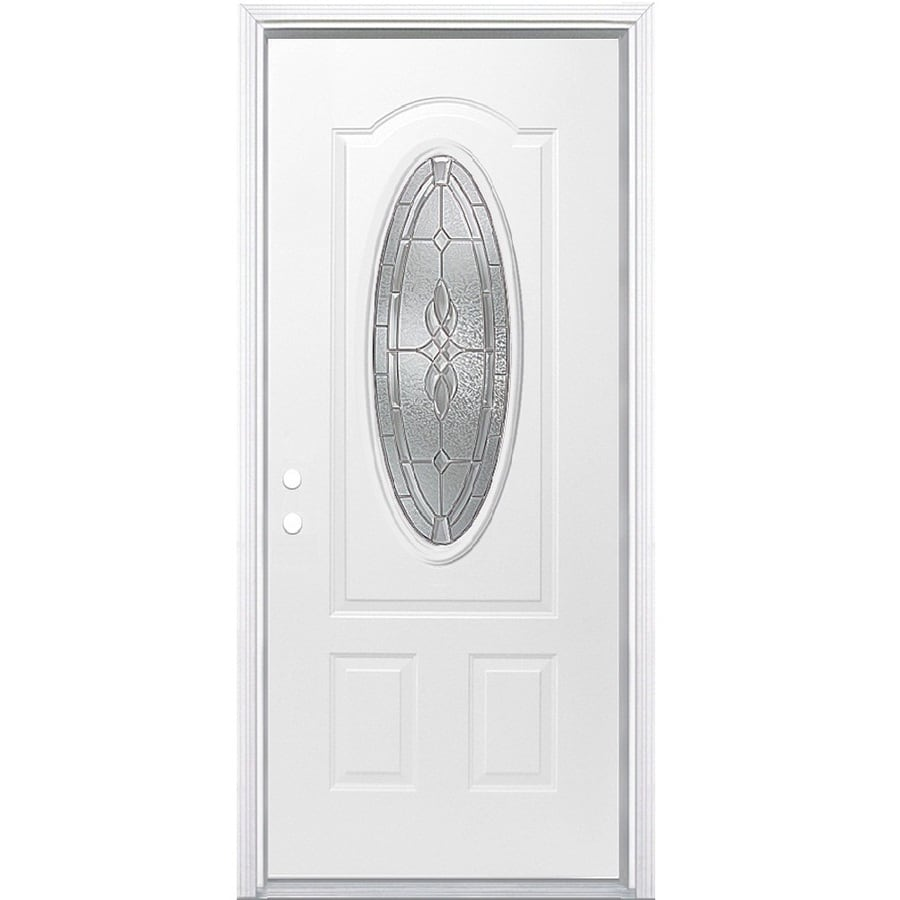 Masonite Hampton Oval Lite Decorative Glass Right Hand Inswing Primed Steel  Prehung Entry Door Insulating