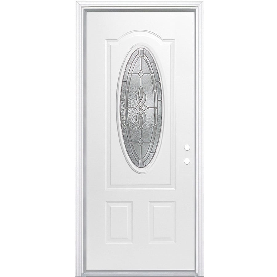 Shop masonite hampton oval lite decorative glass left hand for Decorative entrance doors