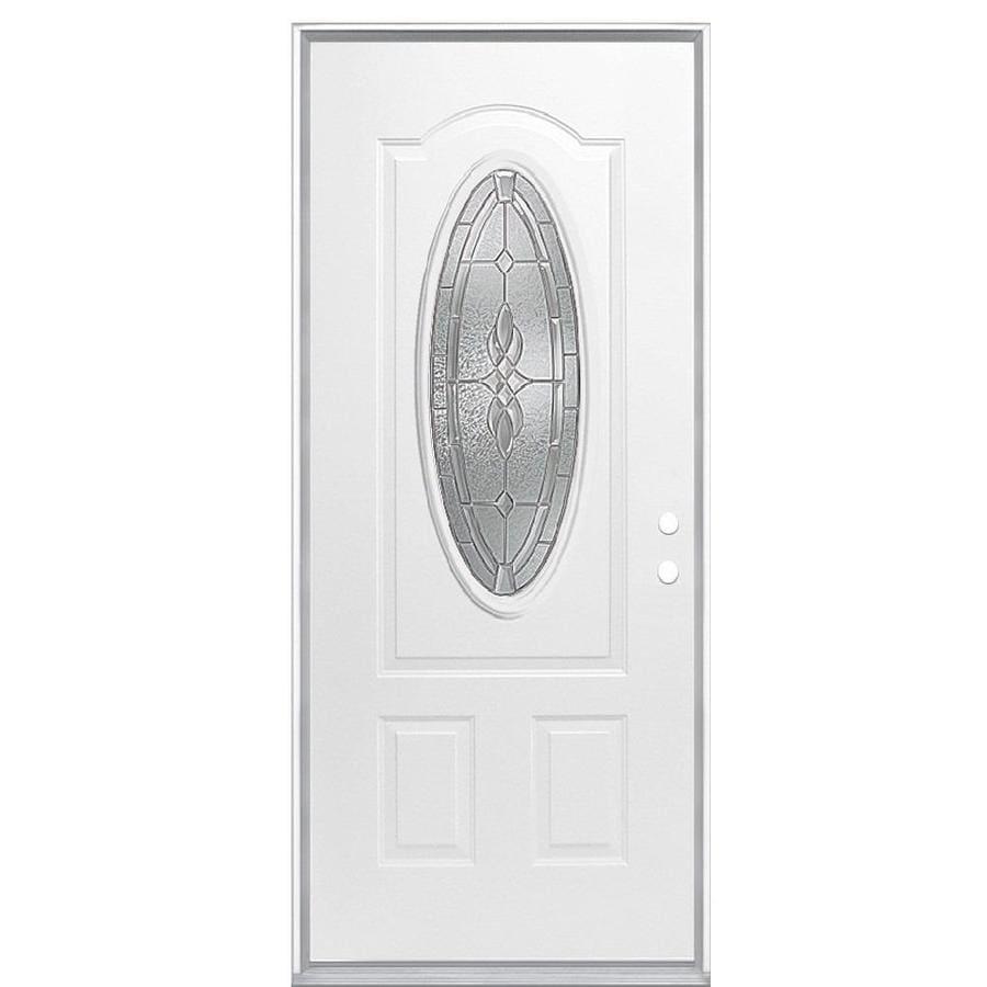 Masonite Hampton 2-panel Insulating Core Oval Lite Left-Hand Inswing Steel Primed Prehung Entry Door (Common: 36-in x 80-in; Actual: 37.5000-in x 81.5000-in)