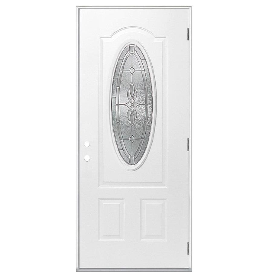 Masonite Hampton 2-Panel Insulating Core Oval Lite Left-Hand Outswing Steel Primed Prehung Entry Door (Common: 36-in x 80-in; Actual: 37.5-in x 80.375-in)