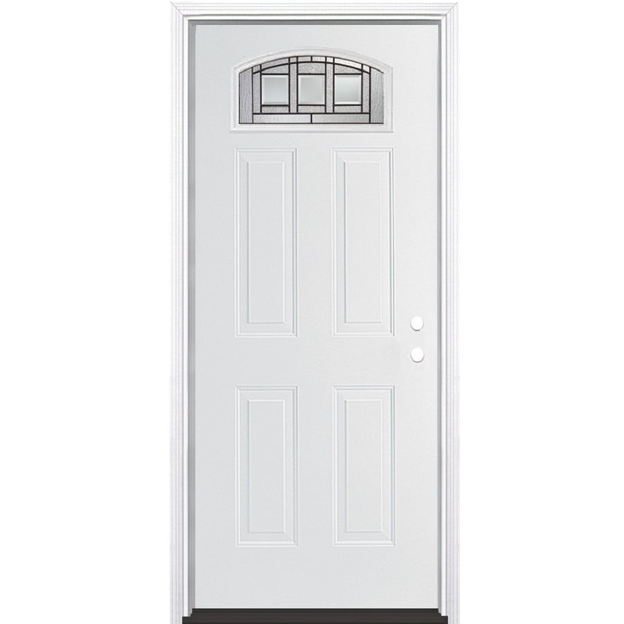 Shop masonite left hand inswing primed steel entry door for Masonite exterior doors