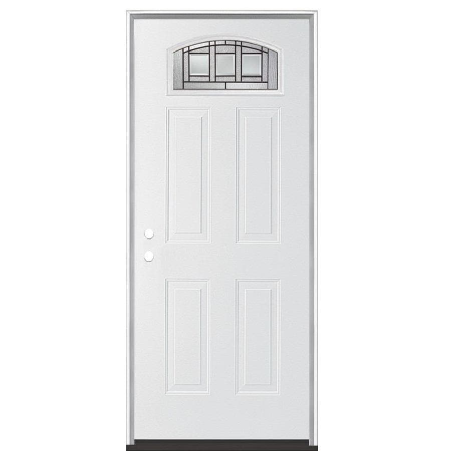 Masonite Craftsman Decorative Glass Right-Hand Inswing Primed Steel Prehung Entry Door with Insulating Core (Common: 36-in x 80-in; Actual: 37.5-in x 81.625-in)