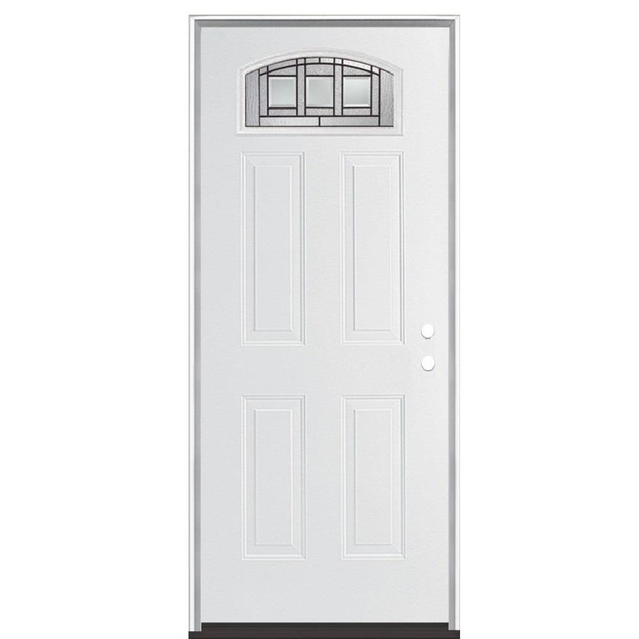 Masonite Craftsman Glass 4-panel Insulating Core Morelight Left-Hand Inswing Steel Primed Prehung Entry Door (Common: 36-in x 80-in; Actual: 37.5-in x 81.5-in)