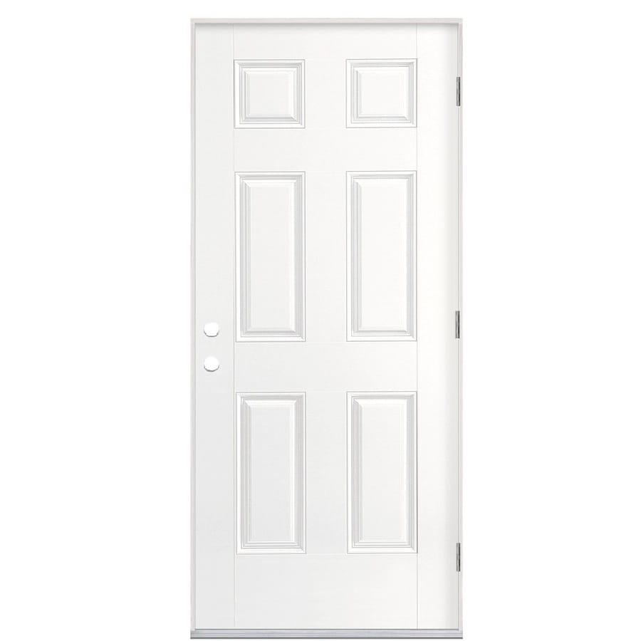 Masonite 6-panel Insulating Core Left-Hand Outswing Fiberglass Primed Prehung Entry Door (Common: 36-in x 80-in; Actual: 37.5-in x 80.375-in)