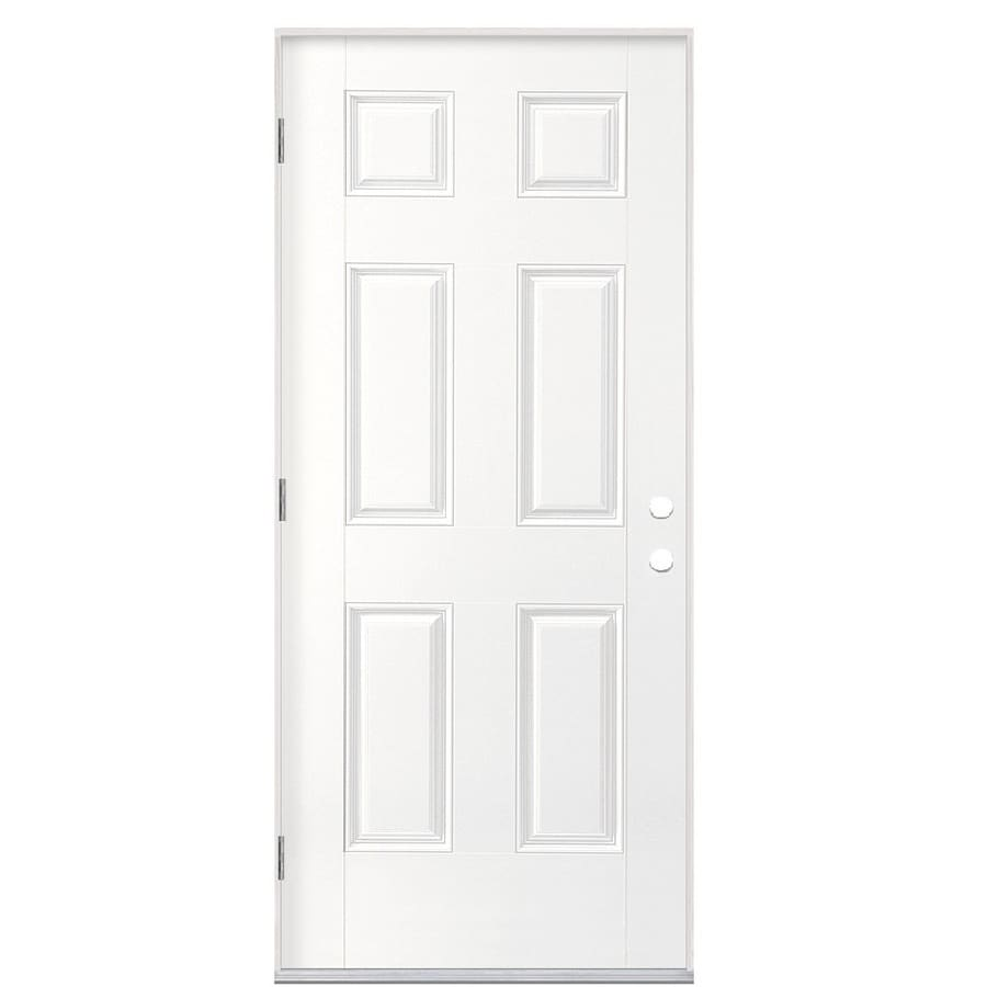 Shop masonite right hand outswing primed fiberglass prehung entry door with insulating core 36 x 80 outswing exterior door
