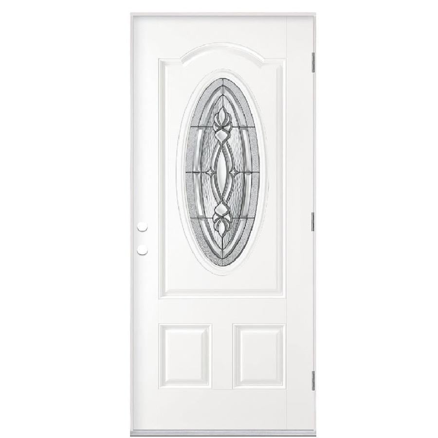 Masonite Panama 2-panel Insulating Core Oval Lite Left-Hand Outswing Fiberglass Primed Prehung Entry Door (Common: 36-in x 80-in; Actual: 37.5-in x 80.375-in)