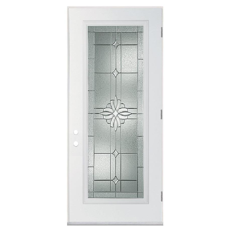 Masonite Laurel Flush Insulating Core Full Lite Left-Hand Outswing Primed Fiberglass Primed Prehung Entry Door (Common: 36-in x 80-in; Actual: 37.5-in x 80.375-in)
