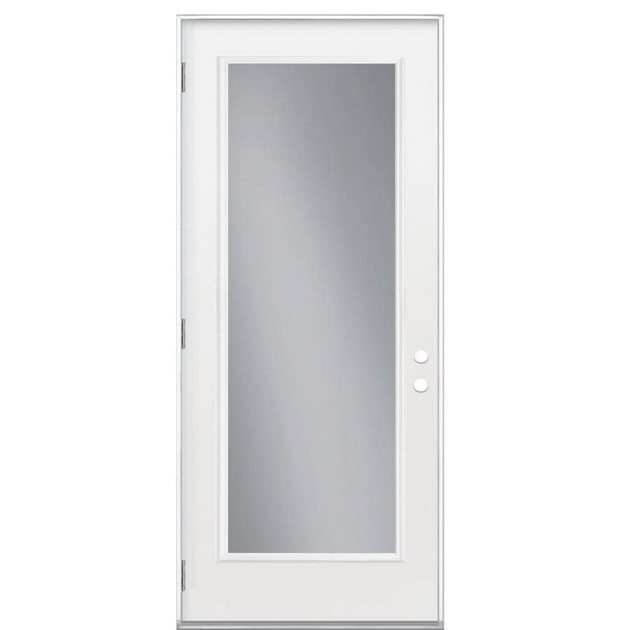 Masonite Flush Insulating Core Full Lite Right-Hand Outswing Primed Fiberglass Primed Prehung Entry Door (Common: 32-in x 80-in; Actual: 33.5-in x 80.375-in)