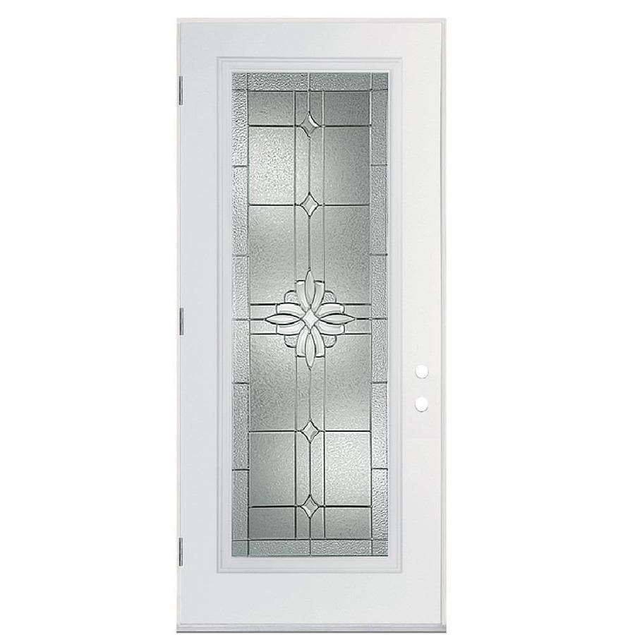 Masonite Laurel Decorative Glass Right-Hand Outswing Primed Fiberglass Prehung Entry Door with Insulating Core (Common: 36-in x 80-in; Actual: 37.5-in x 80.375-in)